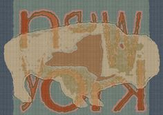 Vintage Buffalo New York State Digital Art Print  Custom colors are available upon request in note to seller. For all customizations, proof will be