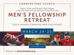 Men of #SACornerstone, join me and @PastorJohnHagee for a weekend of fellowship, Bible study, and golf at @hsbresort. ⛳️ Space is limited, so register today at SACornerstone.org!  #CornerstoneMen #MensRetreat #Fellowship #Bible #Study #Golf #HSBResort #Texas