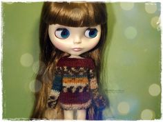BLYTHE Sweater, Jumper, Dal, Pure Neemo, Licca, Basaak, Icy Doll, Jecci Five - Knitted Multicolor Green, Burgundy and Brown Sweater #76 by MPdollWorld on Etsy