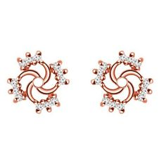 14k Rose Gold 0.24 ct twt Diamond Earring Jackets - Gorgeous metal and stones swirl out from the center of the earring jacket, giving your stud the appearance of being larger and more luxurious. Adorn your beautiful studs with 14k White Gold high polished metal, set with amazing Diamonds.