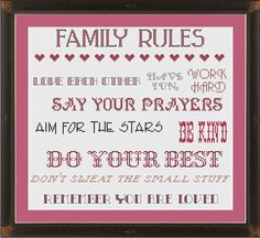 Family rules --- cross-stitch pattern
