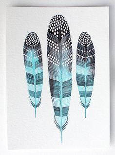 Aquarelle peinture Art de la plume gros caractères par RiverLuna, $40.00