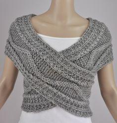 Hand knit vest, Cross Sweater, Capelet, Neck warmer in grey. $68.00, via Etsy.
