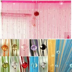 Cristais imitado grânulos janela cortina corda decoração da parede diy