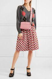 Esplanade smooth and textured-leather shoulder bag