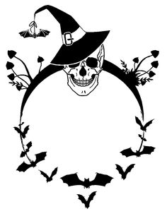 Skull and Bats Halloween Holiday custom vinyl decals for home, office, or auto…