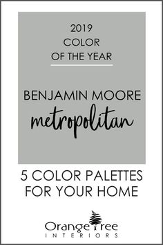 Benjamin Moore's Metropolitan is a versatile paint color that works well with almost any design style. Check out these 5 paint color schemes for your home. These paint color palettes were created to coordinate well throughout your entire home. Paint Color Palettes, Neutral Paint Colors, Paint Color Schemes, House Color Schemes, Exterior Paint Colors, Paint Colors For Home, Gray Paint, Interior Colors, Exterior Design