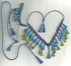 Custom Model Arabian Horse costume halter presentation set with double tassels, $25. I wonder how hard it is to make something like this by hand. . .