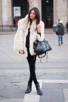 Faux fur coat, black leggings and lycra top, black booties