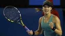 Don't look now, but Eugenie Bouchard has a legitimate shot at getting to the Australian Open semifinals., is already making Canadian tennis history in Melbourne. Funny Emails, Eugenie Bouchard, Tennis Stars, Australian Open, Tennis Racket, Picture Video, American, Sports, Beautiful