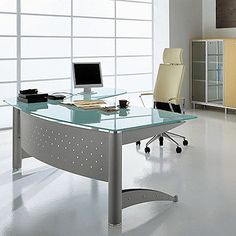 modern furniture// white rectangular tanned leather executive desk