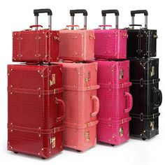 4c166c0d8b3b3 Letrend Vintage Suitcase Wheels Rolling Luggage Set Retro Leather Cabi