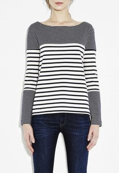 Bretonic Top - Tops - Striped boxy-cut top - Navy - MiH