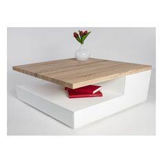Elena - glass top coffee table with oak finish
