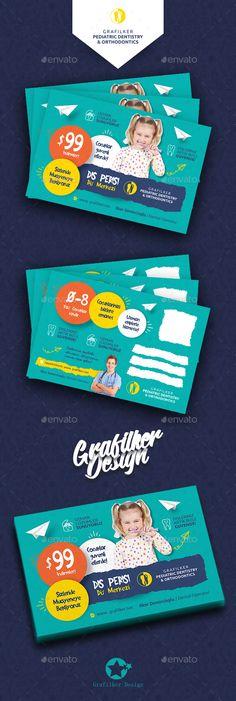 Kids Dental Postcard Template PSD, InDesign INDD