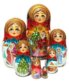 Russian hand painted 7 piece nesting doll features Santa at work at his workshop. Free Priority shipping on US orders. Limited stock. Buy today.