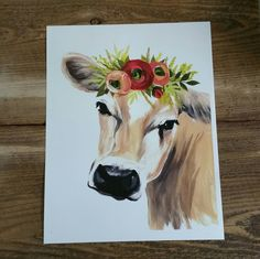 """Shop for iCanvas """"Jersey Cow with Floral Crown"""" by Michele Norman. Get free delivery On EVERYTHING* Overstock - Your Online Art Gallery Store! Farm Paintings, Animal Paintings, Canvas Artwork, Canvas Art Prints, Cow Canvas, Cow Painting, Cow Art, Painting Inspiration, Watercolor Art"""