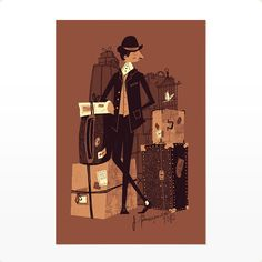 """Great illustration of a classic travelling gentleman. """"Passepartout"""" by Chris Turnham Retro Illustration, Illustrations Posters, Just In Case, Screen Printing, Concept Art, Creations, Character Design, Sketches, Drawings"""