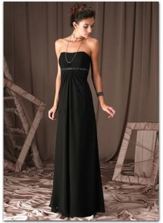 love the floor length!  you could spice this up with a colored bolero, or just black and pops of color in jewlrey