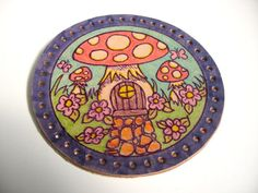 Leather patch upcycled fairy mushroom house by thehappymushroom, £7.50