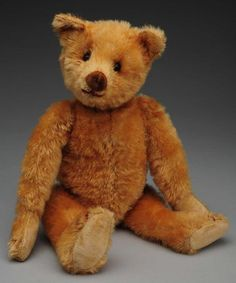 "What a sweet face!   Rare Velvet Nose Teddy Bear.  Identified from Teddy Bear and Friends magazine as a rare Heinrich Silberstein model from Germany 1905-1910. Golden short mohair teddy, rare velvet nose, stitched mouth and claws, shoe button eyes, velvet paw pads, slight hump, long arms. Size 13"" T."