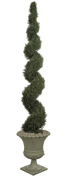 10FT Artificial Cypress Spiral Topiary for special events and venues.    Commercial quality plant like features Center metal pole for durability Stabilizing weight base included Choose between 5ft, 6ft or 10ft tall plants Weighted base included for 5ft and 6ft only. Bare stem for 10ft only Decorative pot sold separately