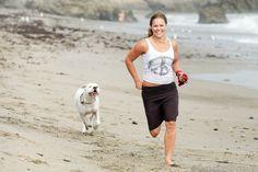Ronda Rousey & Mochi on a beach run