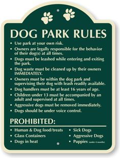 dog park rules - Google Search