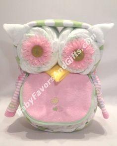 Kooky Owl Diaper Cake   Baby Girl Diaper Cakes   Baby Shower Gift Ideas