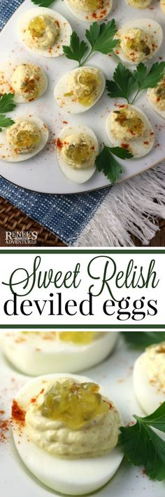Sweet Relish Deviled Eggs - Renee's Kitchen Adventures- easy recipe for deviled…