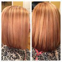 Strawberry Blonde Hair with Golden Blonde Highlights