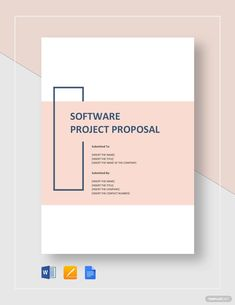 Impress potential investors and sponsors with a well-written software project proposal to bring your brilliant ideas to life. Project Proposal Example, Project Proposal Template, Business Proposal Template, Proposal Templates, Word Template Design, Word Design, Booklet Design, Cover Page Template Word, Word Templates