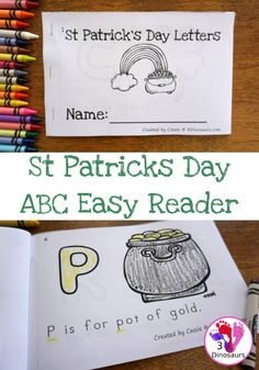 Free St Patrick's Day ABC Easy Reader Book - with 8 pages and 7 fun St Patrick's Day themes - 3Dinosaurs.com #easyreaderbook #stpatricksday #learningtoread #kindergarten #freeprintables