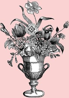 Free Digital Stamp - Ornate Flower Vase