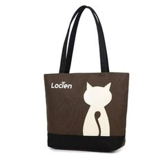Sale 12% (11.66$) - Women Cat Canvas Tote Bags Casual Shopping Bags Shoulder Bags