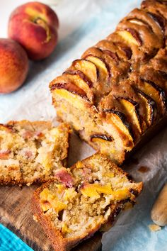 Peach Bread - An incredibly moist and tender dessert bread loaded with five peaches and topped with a sticky brown sugar glaze!