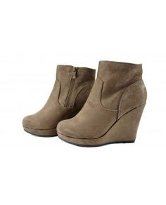 WEDGES BOOTS HIGH ANKLE PLATFORMS TAUPE / BROWN