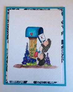 Hedgehogs posting. Watercolor.