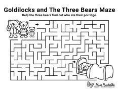 Free Printable Goldilocks and the Three Bears Maze Fairy Tale Crafts, Fairy Tale Theme, Bears Preschool, Preschool Activities, Mazes For Kids Printable, Free Printable, Fairy Tale Activities, Fairy Tales Unit, Activity Sheets For Kids