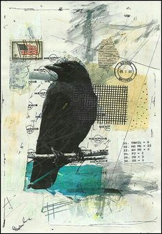 Print art canvas poster raven black bird best gift rustic Mixed media collage illustration signed / autographed Mirel E.Ologeanu home decor Collages, Canvas Poster, Canvas Art Prints, Raven Art, Rabe, Collage Illustration, Mixed Media Collage, Art Journal Inspiration, Mail Art