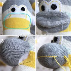 sewing a sock monkey. Make your own Marcho sock monkey by using this ultimate sewing pattern and tutorial. Easy to sew with guide from pictures and instructions. Sock Monkey Pattern, Sock Monkey Baby, Free Monkey, Sewing Patterns Free, Free Sewing, Free Pattern, Softie Pattern, Doll Patterns, Hand Sewing