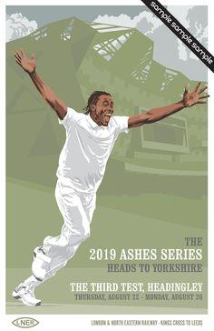 Vintage Cricket Poster Pastiche - 2019 Ashes Series - The Third Test - Headingley Ashes Cricket, Cricket Poster, Store Image, Illustrator, Third, Digital Prints, Original Artwork, Sport, Formal