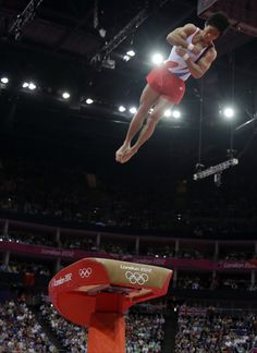 South Korean gymnast Yang Hak-seon performs on the vault during the artistic gymnastics men's apparatus finals at the 2012 Summer Olympics, Monday, Aug. in London. Mens Gymnastics, Gymnastics Room, Artistic Gymnastics, Male Gymnast, 2012 Summer Olympics, Athletic Gear, Fox Sports, Olympians, Olympic Games