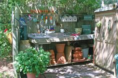 Gorgeous outdoor potting station