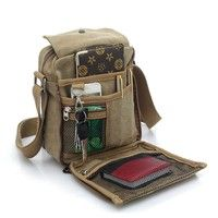 5ce5736189dd Men and Women Leisure Small Satchel Bag Canvas One Shoulder Bag Outdoor  Multifunctional Travel Bag