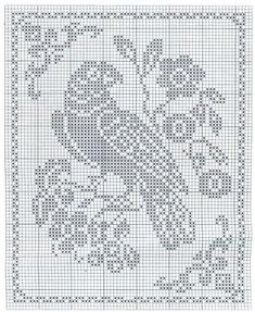 Filet Crochet, Crochet Motifs, Crochet Doilies, Crochet Lace, Crochet Stitches, Cross Stitch Embroidery, Cross Stitch Patterns, Crochet Skull Patterns, Crochet Birds