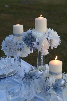 Have your guests step into a winter wonderland with this elegant winter wedding . Have your guests step into a winter wonderland with this elegant winter wedding centerpiece. From icicles to snowflakes . Have your guests Tree Wedding Centerpieces, Winter Wedding Decorations, Wedding Flower Arrangements, Centerpiece Ideas, Centerpiece Flowers, Winter Wonderland Centerpieces, Homemade Centerpieces, Winter Wonderland Wedding Theme, Handmade Wedding Decorations