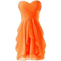 Dressystar Short Strapless chiffon party dress evening dress ($80) ❤ liked on Polyvore