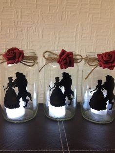 beauty and the beast lantern jar by LoveartsGifts on Etsy