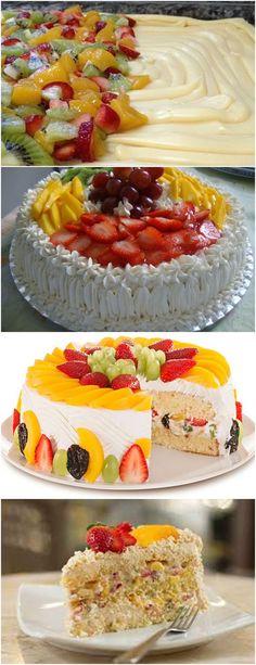 BOLO RECHEADO COM FRUTAS…ALÉM DE LINDO FICA UMA DELICIA!! VEJA AQUI>>>Bata as claras em neve e reserve Misture as gemas, a margarina e o açúcar até obter uma massa homogênea Acrescente o leite e a farinha de trigo aos poucos, sem parar de bater #receita#bolo#torta#doce#sobremesa#aniversario#pudim#mousse#pave#Cheesecake#chocolate#confeitaria